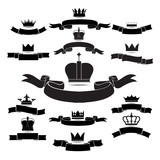 king and queen crown silhouette icon set isolated on white backg