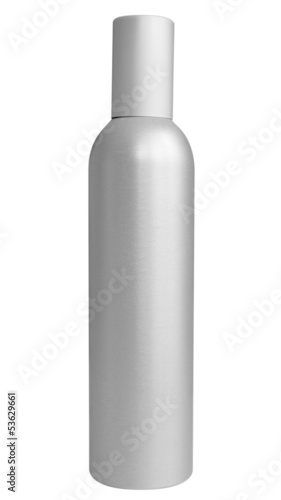 Blank aluminum spray bottle isolated on white.