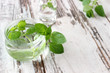 fresh mint oil in bottle on wooden boards