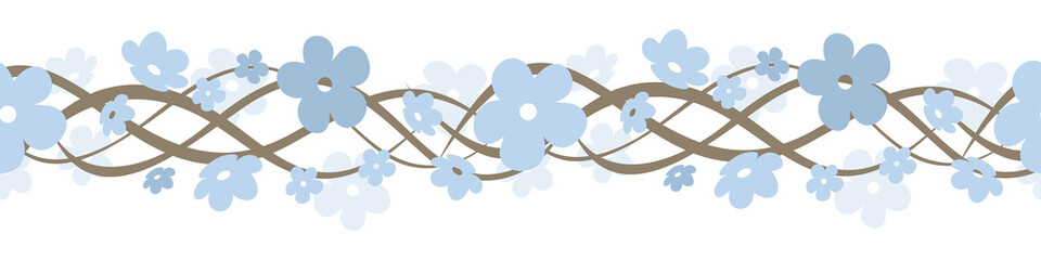 Horizontal seamless background with flowers. Vector illustration