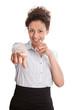 Selbstsichere lachende Geschäftsfrau isoliert in Rock und Bluse