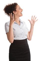 Freude - lachende junge Geschäftsfrau isoliert in Rock und Bluse