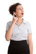 Junge Frau isoliert mit erhobenem Zeigefinger