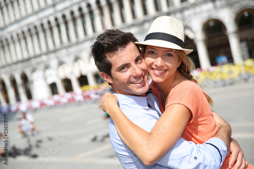 Romantic couple on Piazza San Marco in Venice