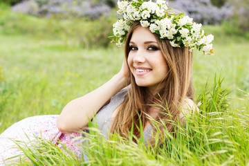 girl in the wreath of white flowers