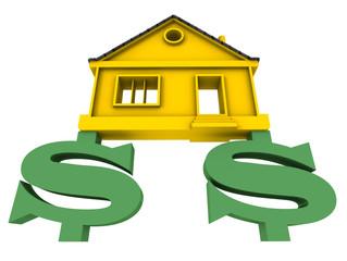 Домик, стоящий на символах американского доллара
