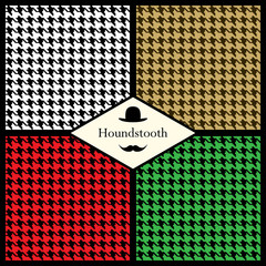 Set of houndstooth check patterns