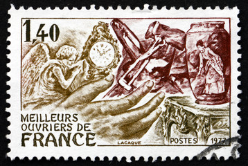 Postage stamp France 1977 shows French Handicrafts