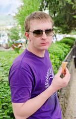 Man eating an icecream cone