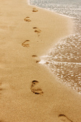 Footprints in the sand background. Patara - Antalya - Turkey