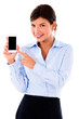 Business woman holding smart phone