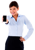 Business woman showing mobile phone
