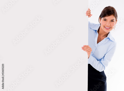 Business woman with a banner ad