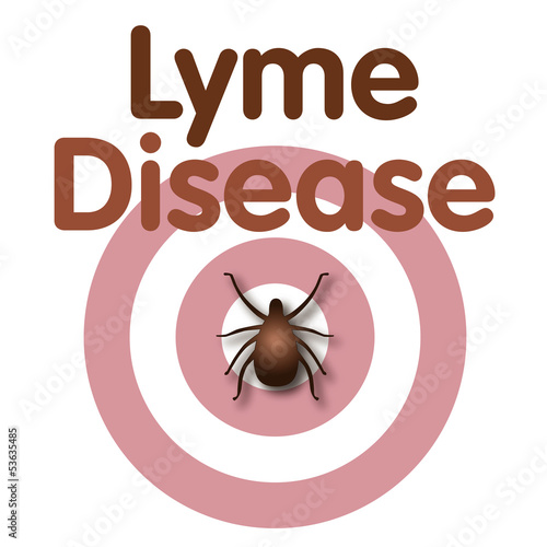 Lyme Disease, Tick, Bulls-eye Rash, title text. EPS10.