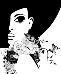woman in a black hat with flowers and butterflies
