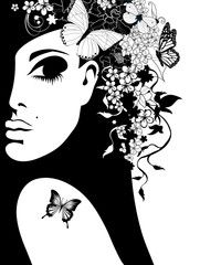 silhouette of a woman with flowers and butterflies