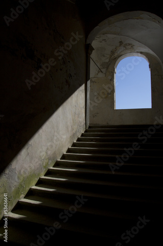 stone staircase illuminated