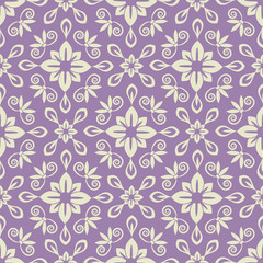 Seamless violet and light damask pattern