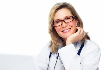 Doctor woman with laptop computer.