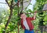Happy little boy climbing on a metal frame