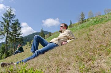 Man and woman enjoying peace and solitude