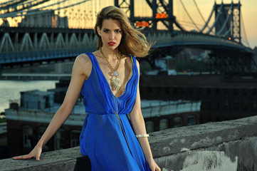 Fashion model posing sexy, wearing blue dress on rooftop