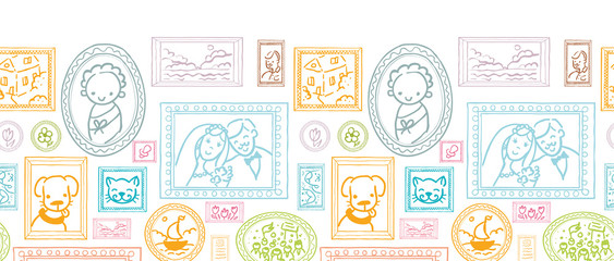 Vector family pictures horizontal seamless pattern background