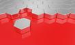 3D Sechseck Bausteine - Rot Silber