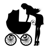 Silhouette of a young woman with a stroller