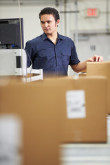 Worker Checking Goods On Belt In Distribution Warehouse