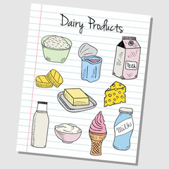 Dairy products doodles - lined paper