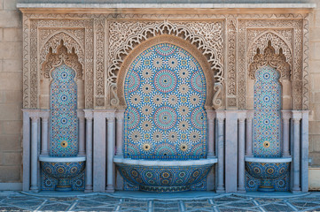 Moroccan tiled fountains
