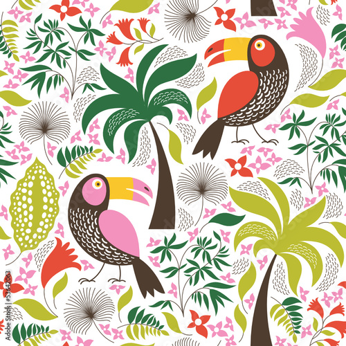 seamless floral background with birds