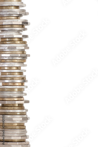 Coin tower of Australian money as a border