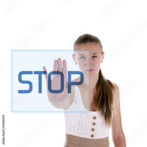 Mädchen zeigt Stop