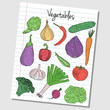 Vegetables doodles - lined paper