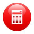 bouton internet calculatrice finance icon red