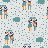 Seamless pattern with two cute stylish kittens under umbrella