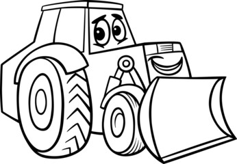 bulldozer cartoon for coloring book