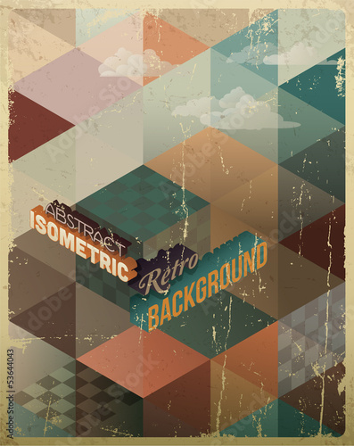Abstract Retro Geometric Background with clouds © blinkblink