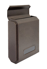 Side brown grain metal surface opened letter box focus near