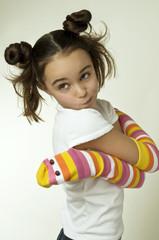 toy snake hugging a girl