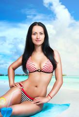 Beautiful woman in beach bikini