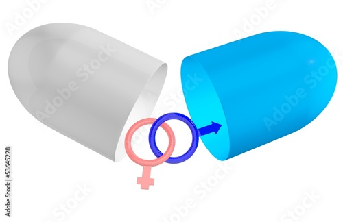 Concept pill for sex isolated on white