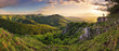 Leinwanddruck Bild - Green Rocky moutain at sunset - Slovakia