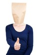 person with paper bag head