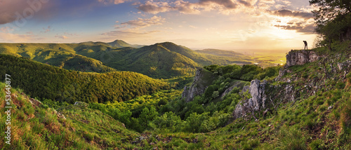Fotobehang Heuvel Green Rocky moutain at sunset - Slovakia
