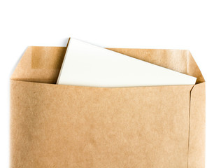 Opened brown Recycle  envelope with paper letter inside on white