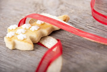 christmas cookie in ribbon
