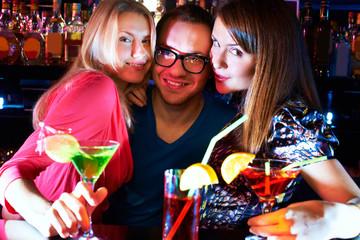 Girls and barman